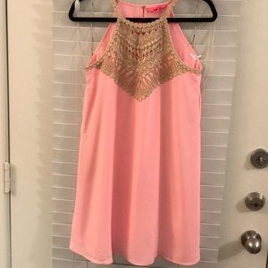 Lilly Pulitzer Neon Pink High Neck Swing Dress NWT